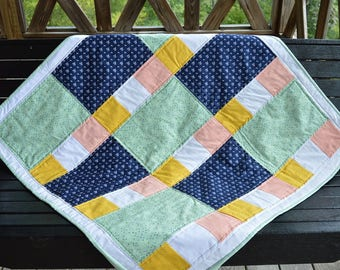 Baby Quilt Handmade Patchwork Navy Mint Pink Personalized