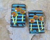 Corrugated  Yellow Crinkled Flowers Garden Copper Torch and Kiln Fired Enameled 1 pair Charms Earring components Whimsical SusieDesigns