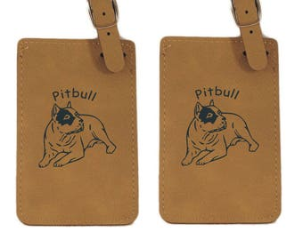 American Pitbull Laying Luggage Tag 2 Pack L1248  - Free Shipping