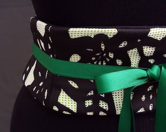 Black and White Overlay over Lime Green Lace Up Obi Belt Any Size