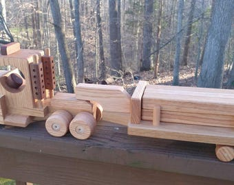 Wooden Handmade toys Tractor Lowboy Trailer with  logs red  oak & Mahogany Heirloom Quality Beautifully  finished  Beeswax Ships on Monday!