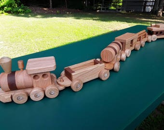 Train set wooden 6 car Handmade toy oak and mahogany Heirloom Quality  Beautifully hand finished. Ready to ship! Sale 40 off !