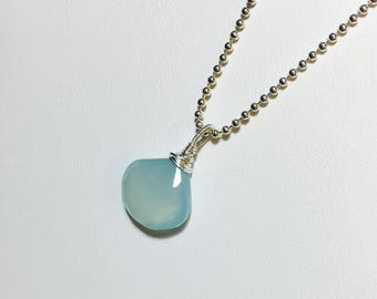 Aqua Chalcedony Pendant, Sterling Silver Solitaire, Briolette Gemstone Necklace