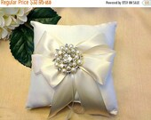 On Sale 20% Off Ivory Ring Bearer Pillow - Ring Pillow - Pearl Ring Pillow - Ring Cushion - Ringbearer Pillow - Ivory Bridal Pillow  - 30 Co