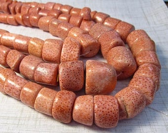20% Off OUT Of TOWN SALE Large Peach Coral Branch Bead Nuggets , 20 Inches 10mm 12mm 15mm 20mm, Coral Nugget Beads