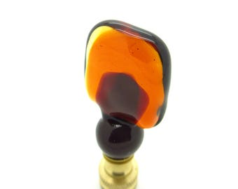 Handmade Venetian Glass Lamp Finial - Multi Color Ambers Venetian Glass, Brass or Nickel Hardware, Lampwork Glass - Finials Hold Lampshades