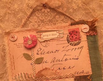 Altered textile art, mixed media, collage, original, postcard, hand embroidery, flower, OOAK, needletraditions