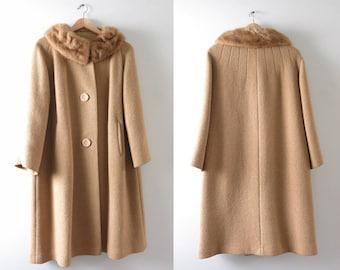 Vintage 60s Camel Coat | 1960s Mod Wool & Mink Collar Camel Coat L