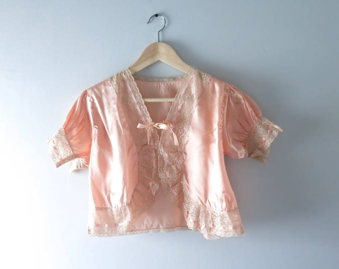1930s Lingerie Top | 1930s Peach Satin Bed Jacket S