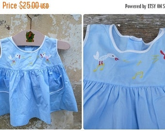 ON SALE Vintage  1960/60s French blue cotton embroidered baby  dress  / size 1 year