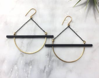 Black and Gold Bar Earrings