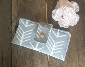 Womens Wallet, Fabric Wallet, Arrow Wallet, Clutch Wallet