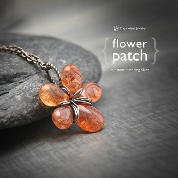 Flower Patch – Sunstone Flower Sterling Silver Wire Wrapped Necklace