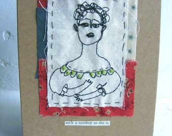 Handmade, ooak, unique stitched greeting card  - Society Ladies - 4x6in on recycled card card and with a crisp white envelope.