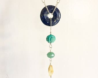 Chakra Necklace. Balancing. Sterling Silver Necklace. Amethyst. Lapis. Turquoise. Aventurine. Citrine. Carnelian. Coral.