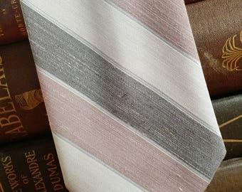 Don Loper of Beverly Hills - Vintage Necktie - stripe design - polyester linen - FREE SHIPPING