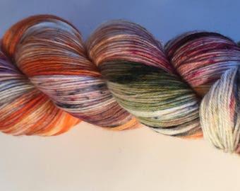 Speckled Orange, Green, Burgundy Hand Dyed 4ply Sock Wool/Nylon Yarn