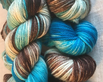 Aqua and Brown and white Hand Dyed 10ply Aran Weight Merino Wool