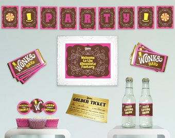 Willy Wonka printable party kit birthday party decorations DiY party essentials basic complete kit Charlie and the Chocolate Factory PiNK