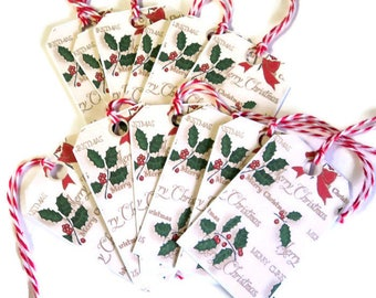 12 Small Christmas Gift Tags Hang Tags Note Tags Holly Gold Letters Merry Christmas