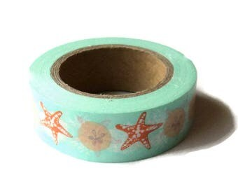 Washi Tape, Sea Shells , Eyelet Outlet Brand, 15mm x 10m (over 32 ft.), Teal Green Orange, Beach Themed Takuniquedesigns