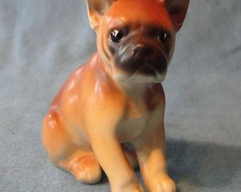 Vintage boxer pup figurine Japan 1960s soft brown color