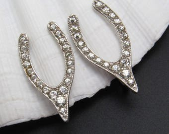 Sterling Rhinestone Earrings Wishbone Vintage Jewelry E8038