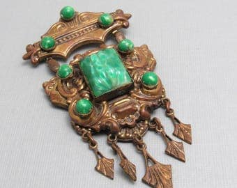 Etruscan Revival Dangle Pendant Brooch Antique Jewelry P8533