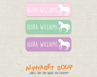 72 personalized dishwasher safe horse labels   choose colors and fonts   microwave safe and waterproof