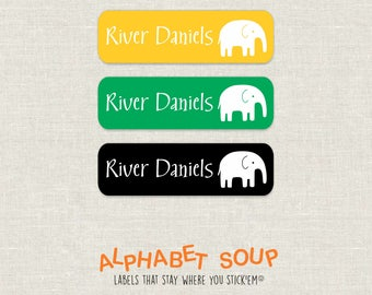 72 personalized dishwasher safe elephant labels | choose colors and fonts | microwave safe and waterproof