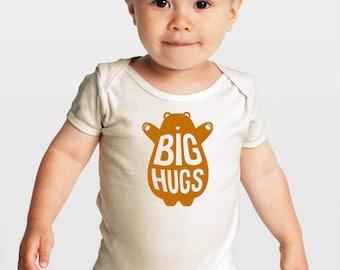Big Hugs Brown Bear — Gender Neutral Organic Baby One-Piece