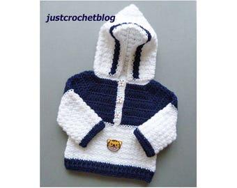 Crochet Hooded Sweater Baby Crochet Pattern (DOWNLOAD) 153BFJC