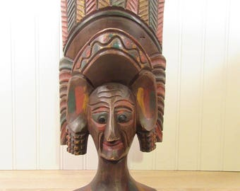 One of a kind vintage hand carved table top wood tribal bust with headdress