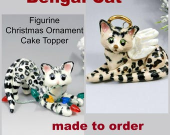 Bengal Cat Christmas Ornament Figurine Cake Topper Porcelain