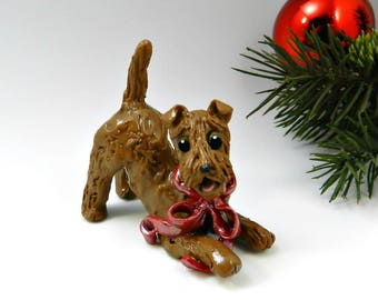 Lakeland Terrier Christmas Ornament Figurine Red Bow Porcelain