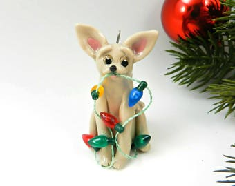Chihuahua Fawn Christmas Ornament Figurine Lights Porcelain Clay