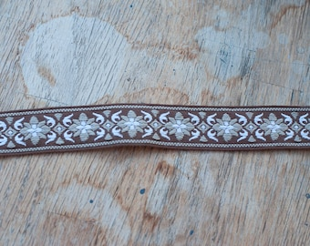 2 yards Adorable Floral - Vintage Fabric Austrian European Style Trim Embroidered New Old Stock