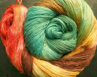 Alpaca Silk Lace 2ply Yarn Hazelwood Autumn Elvincraft Hand Painted