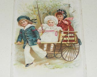 Antique Lion Coffee Victorian Trade Card Advertisement Children in Goat Cart Baby holding Whip Litho