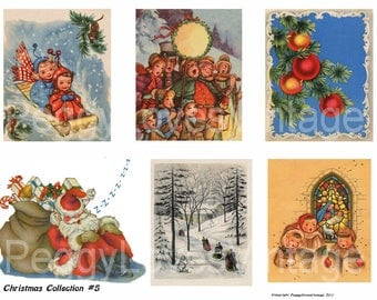 Christmas Collection 5 Digital Collage from Vintage Greeting Cards - Instant Download - Cut Outs