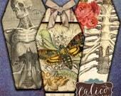 Macabre, Coffin Tags, Printable, Digital, Collage Sheet, Junk Journal Tags, Hang Tags, Halloween, Gothic, Skeletons, Printable Ephemera