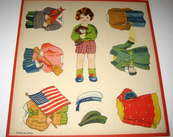 Sheet of Pop Out Vintage (1930s) Paper Dolls - United States -  for Collecting or Crafting