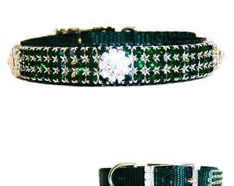 Emerald with Rhinestone Dog Collar