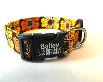 Hawaiian Hibiscus Surfer Style Personalized Dog Collar Surf Sand Sun Dogs Summer Collar Unisex Unique Floral Orange Brown Tan