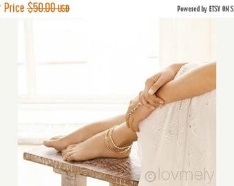 SUMMER SALE LOVMELY Anklet- triple chain white, Coral, or turquoise anklet 22k gold wire wrapped