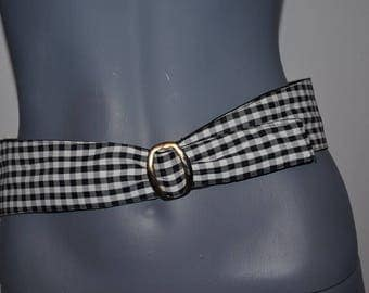 Vintage Belt. Reversable Wide Black and Plaid Cummberbund belt. Black and Checks stripes taffeta. tuxedo . 32 to 34 inches.