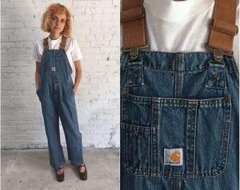 childrens Carhartt denim overalls / kids vintage Carhartt overalls / wide leg overalls