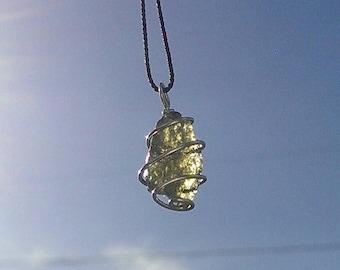 MOLDAVITE NECKLACE Hand Wrapped In 925 Sterling Silver! Genuine Czech Moldavite  - Synergy 12 Crystal - Moldavite Pendant Tektite Necklace!