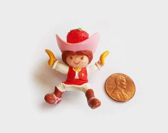 "Tiny Vintage Strawberry Shortcake Cowgirl Doll PVC Miniature with Giant Pink Hat 2"" High Little Doll with Bananas"