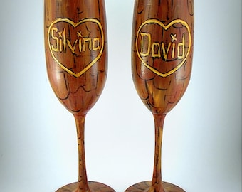 Wedding toasting glasses Tree, Nature, Trees Bark, Mr. & Mrs. Bride and Groom Champagne Glass, SET of TWO